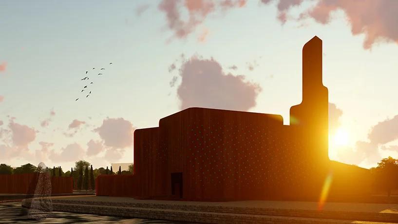 طراحی مسجد با استفاده از سطوح آجری توسط آرش طهرانی